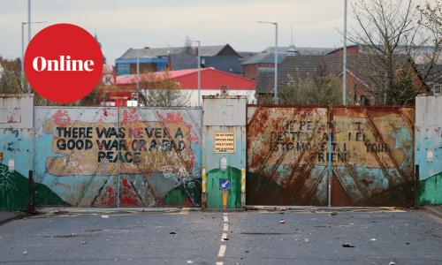 Lanark Way peace gates closed dividing the nationalist Catholic Springfield Road from the Protestant Shankill Road