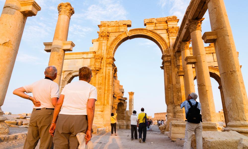 Sightseers visiting Palmyra