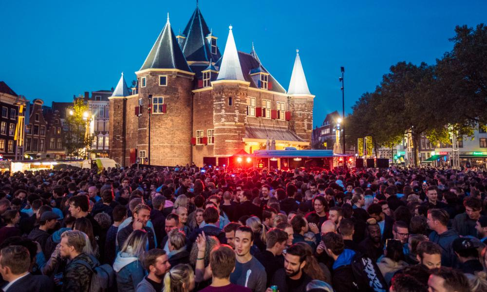 People party in the streets of Amsterdam.