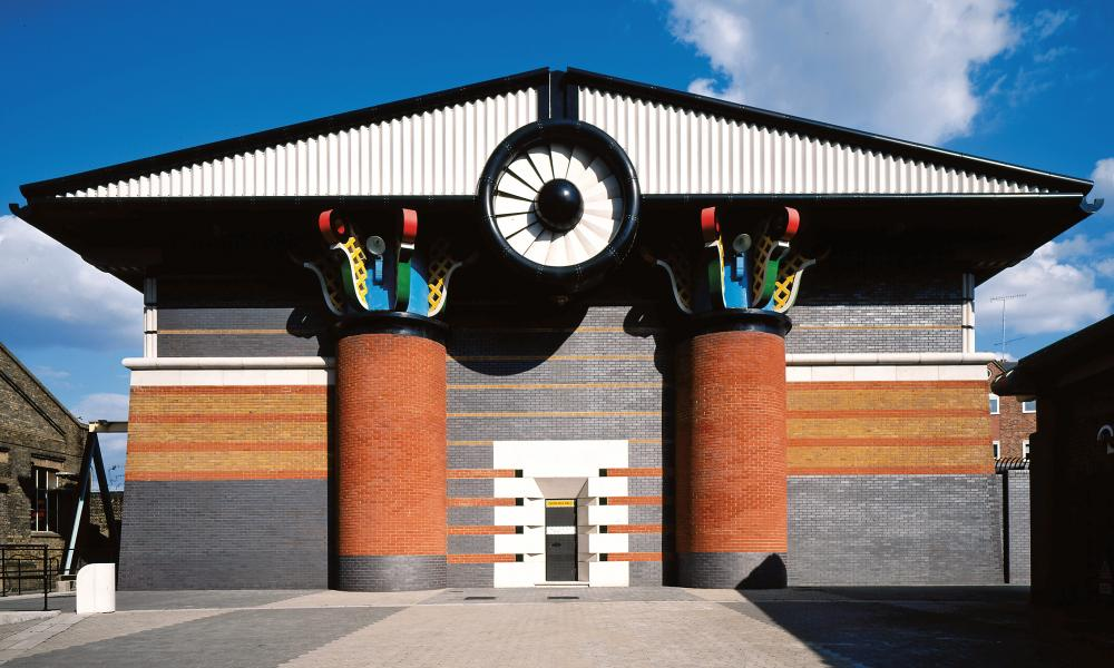 Isle of Dogs Pumping Station, Tower Hamlets, 1986–8 by John Outram Associates.