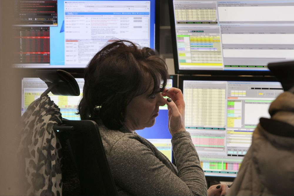 Markets Remain Volatile At Frankfurt Stock ExchangeFRANKFURT AM MAIN, GERMANY - FEBRUARY 11: A trader looks up to her monitor of the DAX stock market index at the Frankfurt Stock Exchange on February 11, 2016 in Frankfurt, Germany. Stock markets across the globe have been exceptionally volatile in recent weeks as investors fear a global economic slowdown. (Photo by Hannelore Foerster/Getty Images)