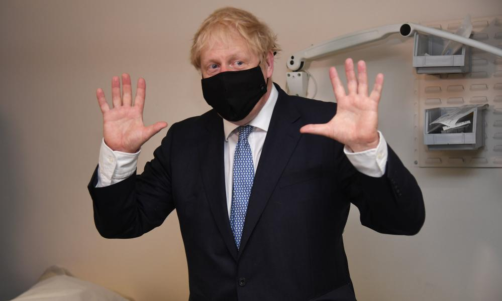 Boris Johnson during a visit to Tollgate Medical Centre in Beckton in east London on Friday.