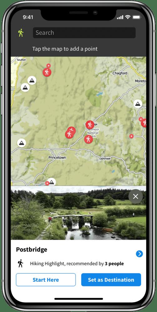 Screenshot of Komoot walking app