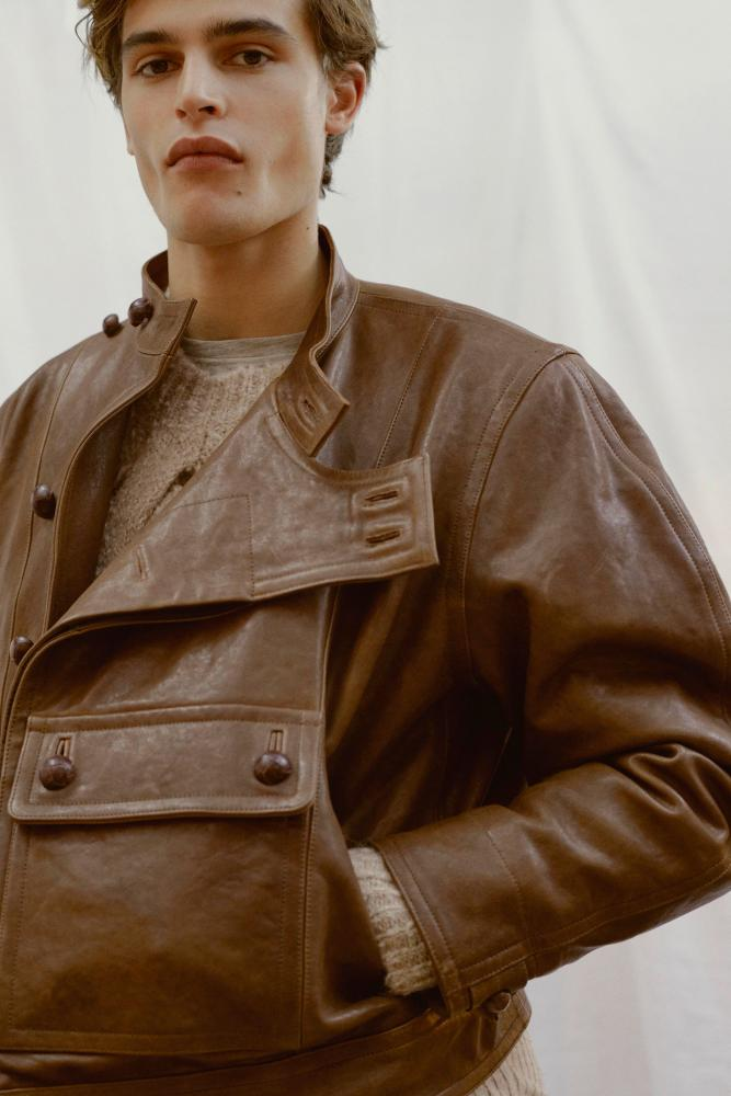 A leather jacket by Isabel Marant Homme.
