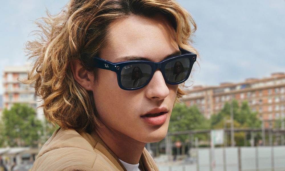 A model wearing Facebook's Ray-Ban Stories, the first fruits of its Reality Labs division.