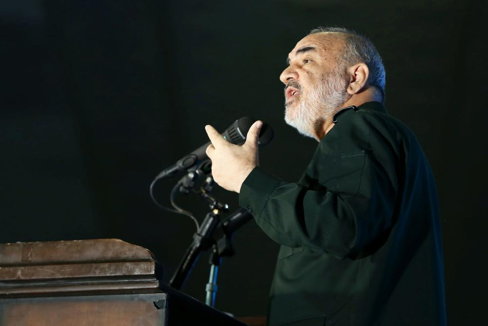 Hossein Salami, commander-in-chief of the Islamic Revolutionary Guard Corps, giving a speech in February