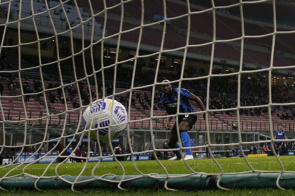 Romelu Lukaku pulls a goal back for Internazionale against Milan.