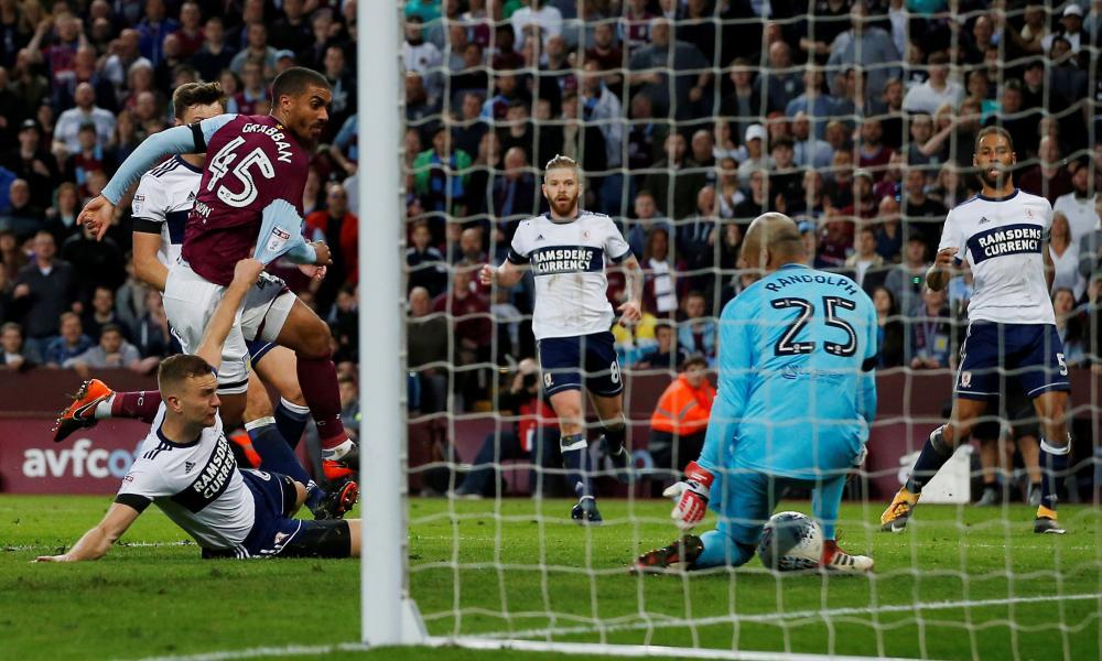 Aston Villa's Lewis Grabban is denied by the legs of Boro keeper Darren Randolph.