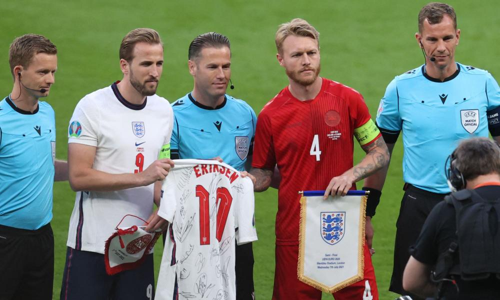Denmark captain Simon Kjær with England's Harry Kane before the Euro 2020 semi-final at Wembley