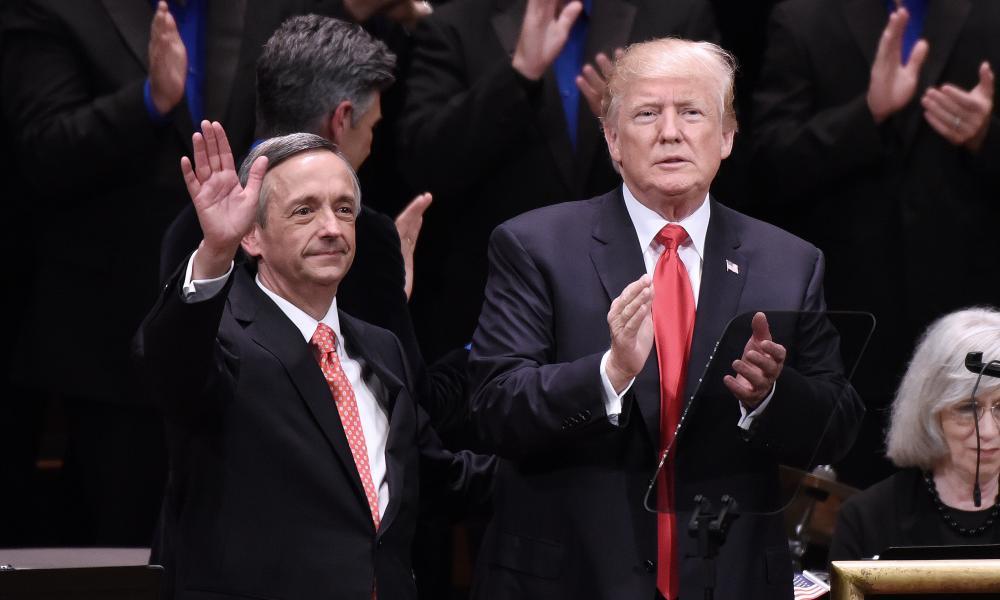 Pastor Robert Jeffress with Donald Trump in Washington.