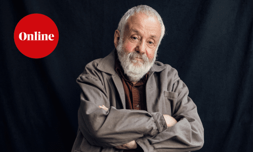 Mike Leigh, photographed in London at his production offices in Soho.