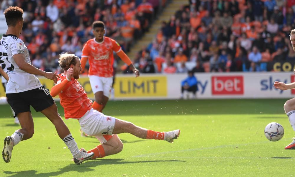 Blackpool's Josh Bowler scores the opening goal against Fulham.