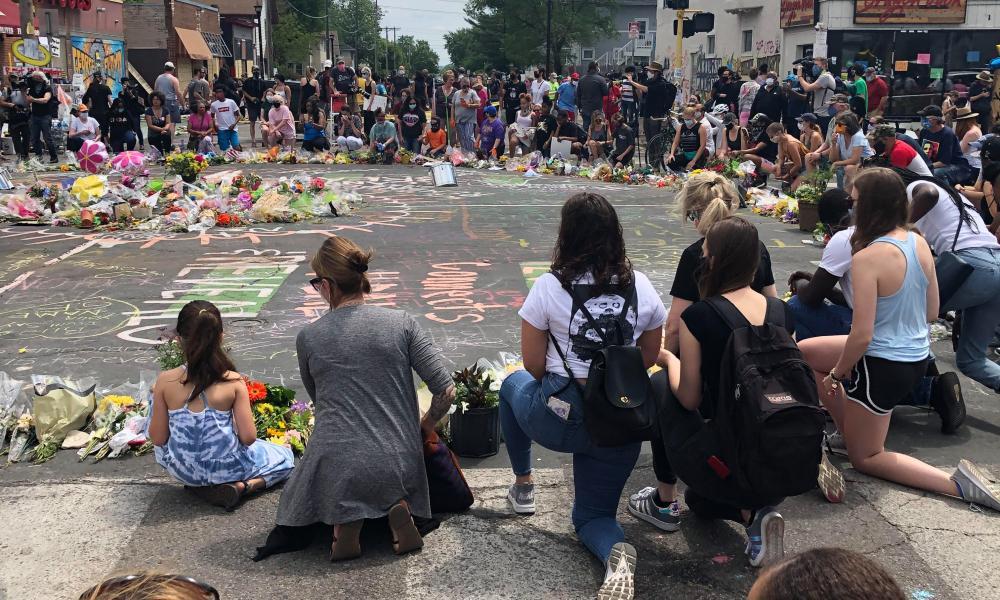 Demonstrators in Minneapolis after the killing of George Floyd while in police custody.