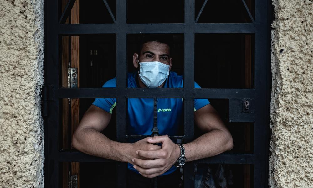 A migrant helper at the church in Las Reyohas, Gran Canaria