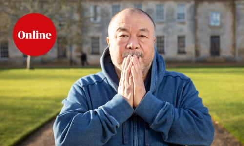 Ai Weiwei, photographed in the grounds of Downing College, University of Cambridge, Cambridge. Photograph by David Levene