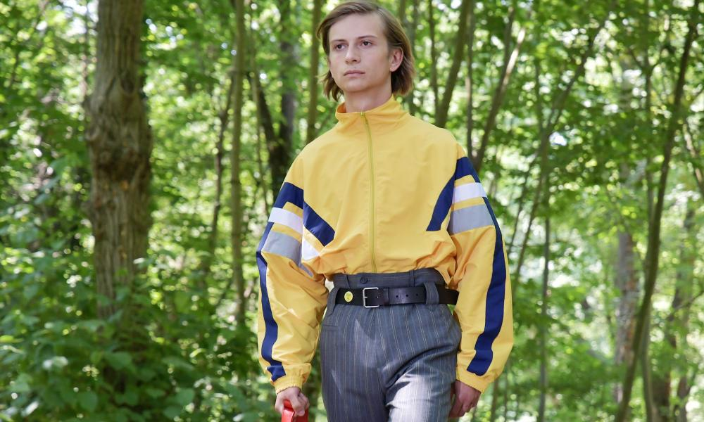 Male model in yellow jacket.