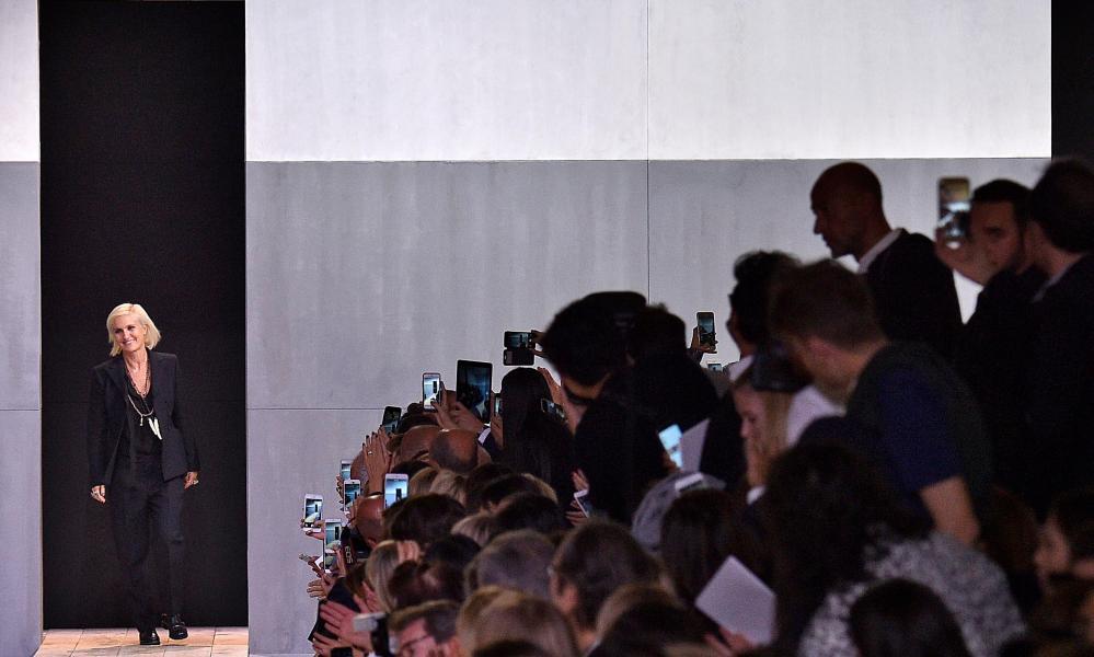 Kind of a big deal … Maria Grazia Chiuri walks the runway during Paris Fashion Week 2017.