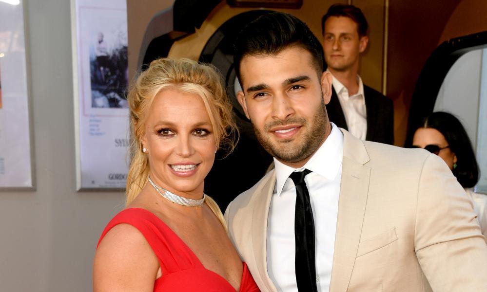 Britney Spears and Sam Asghari smile