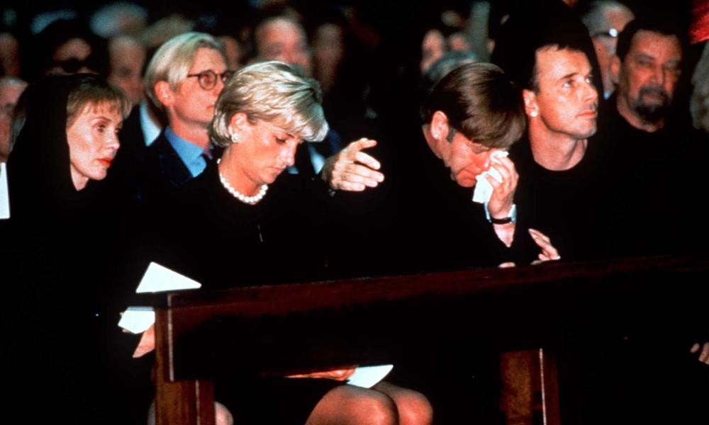 Princess Diana, Elton John and David Furnish at Gianni Versace's funeral in 1997