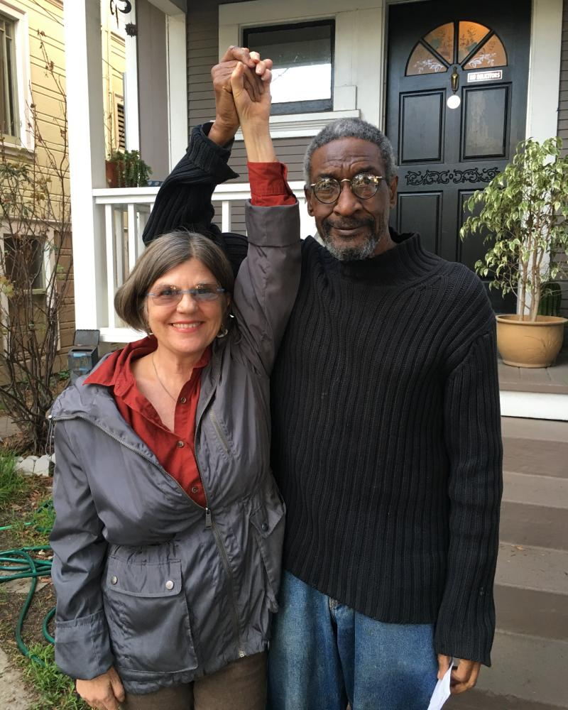 Heidi Borst, a 60-year-old tenant also facing eviction, with close friend and domestic partner Charles Branklyn.