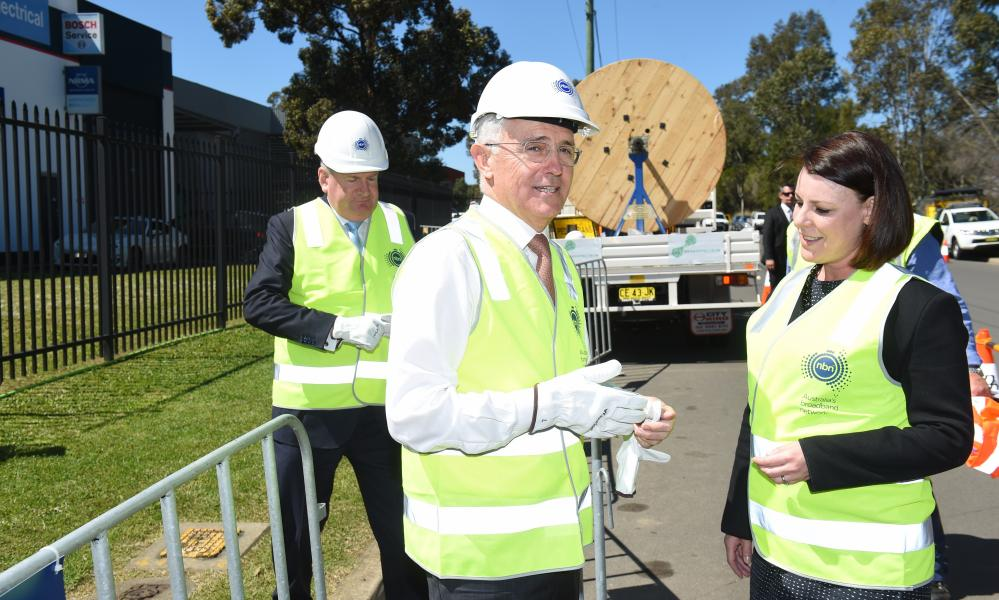 Communications minister Mitch Fifield and Malcolm Turnbull