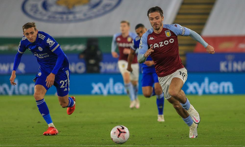 Jack Grealish of Aston Villa runs with the ball.