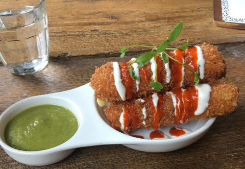 2 Deep-fried cheese with hot Valentina sauce at The Spread Eagle, Hackney - outstanding vegan Mexican comfort food at a fantastic vegan boozy boozer. Tell landlady Sherri-Lee I sent you.