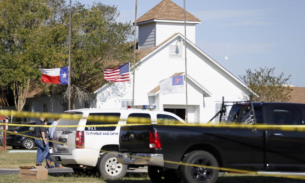 Law enforcement officials at the First Baptist Church.