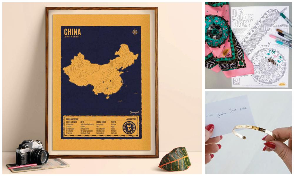 Clockwise from left: Wandermap screenprinted map; flamingo print silk scarf colouring kit; personalised handwriting bracelet.