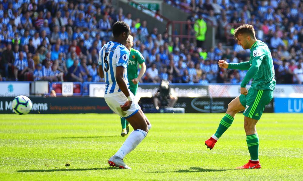 Gerard Deulofeu of Watford scores the opening goal.