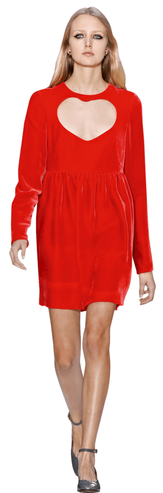 Model in red dress by Chloé