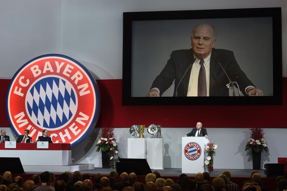 Uli Hoeness speaks during the Bayern general meeting.
