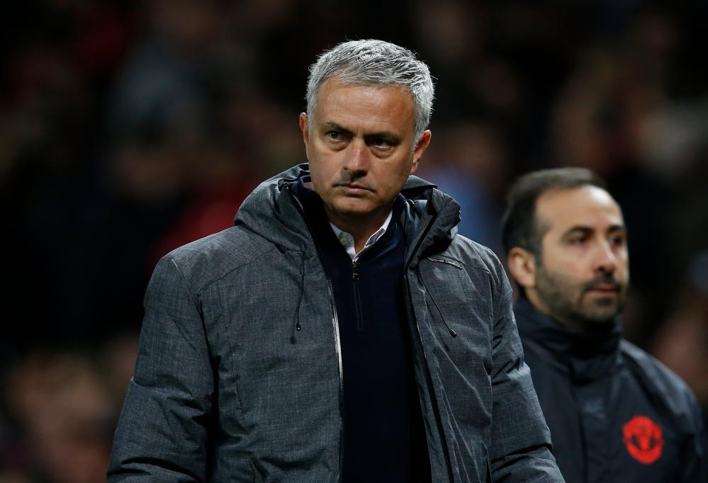 Jose Mourinho looks unimpressed as he walks off at half-time.