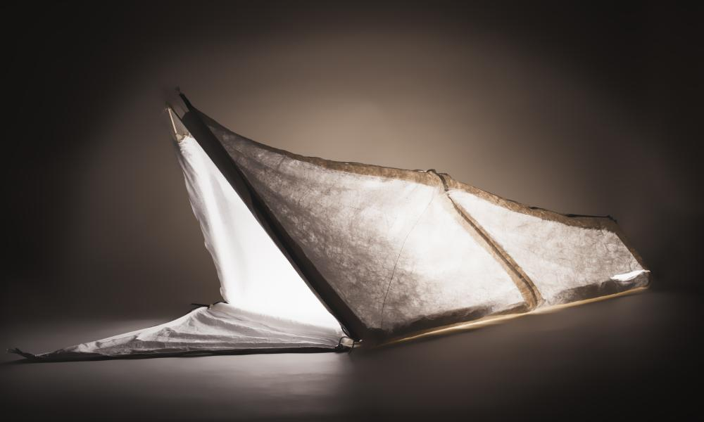 From clothing to shelter … the 'wearable dwelling' in action as a tent.