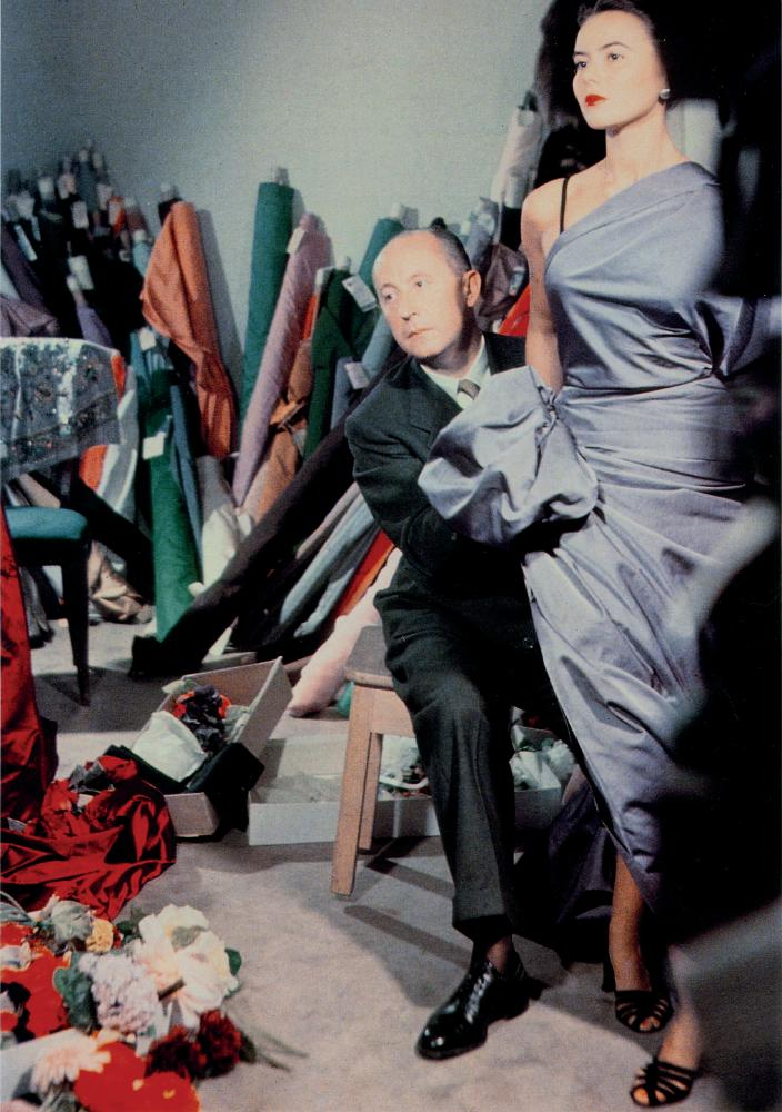 Christian Dior with the model Sylvie, circa 1948.