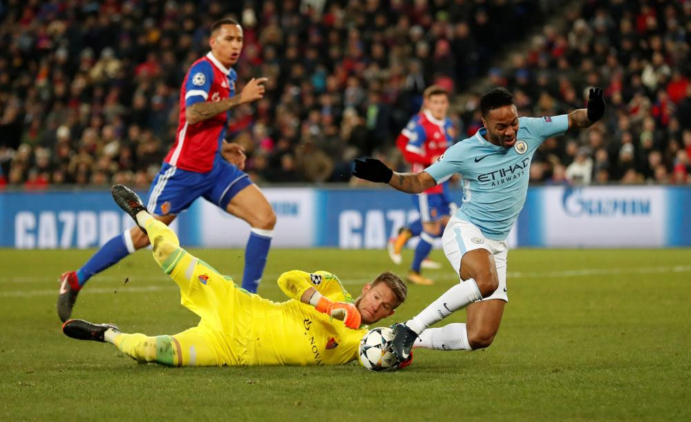Raheem Sterling is denied by Basel's Tomas Vaclik.