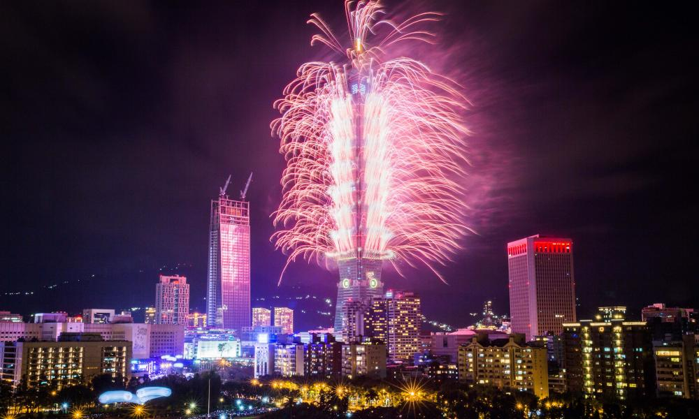 Fireworks light up the Taipei skyline on New Year's Eve