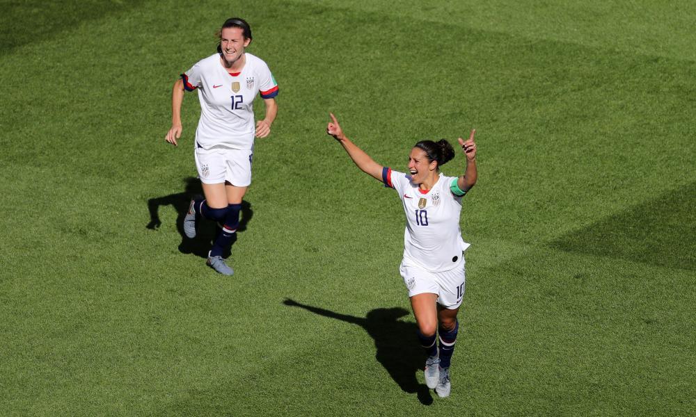 Carli Lloyd celebrates after scoring.