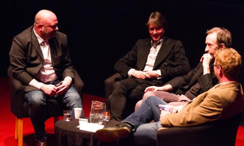 Roger Sargent, Brett Anderson, Mat Osman, and Michael Hann discuss Night Thoughts at a Guardian Live Q&A at the Barbican 20 January 2016.