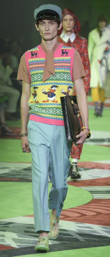 Gucci does Daffy at Milano Moda Uomo Men's Fashion Week.