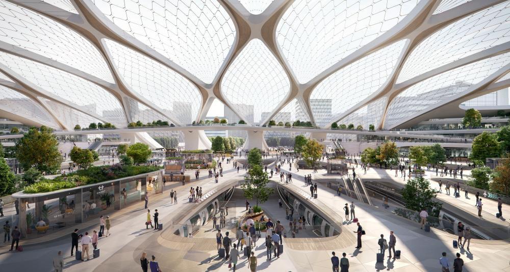 Design for a Hyperloop station.