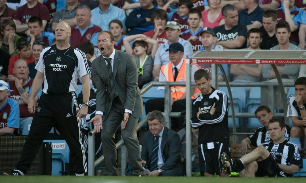 A frustrated Alan Shearer during the defeat at Villa Park which confirmed Newcastle's relegation in May 2009