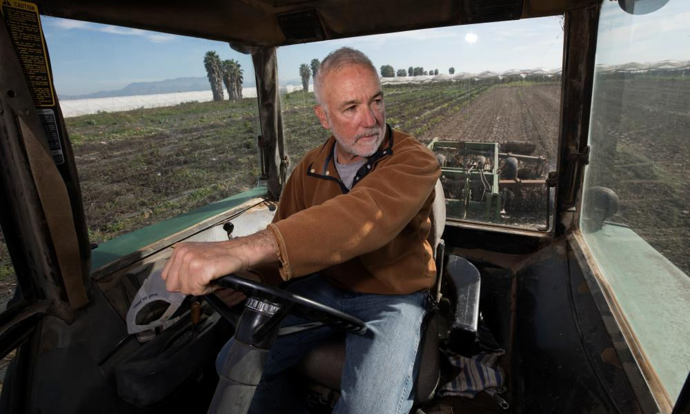Phil McGrath is politically liberal, a rarity among California farmers who tend to be Trump-supporting conservatives.