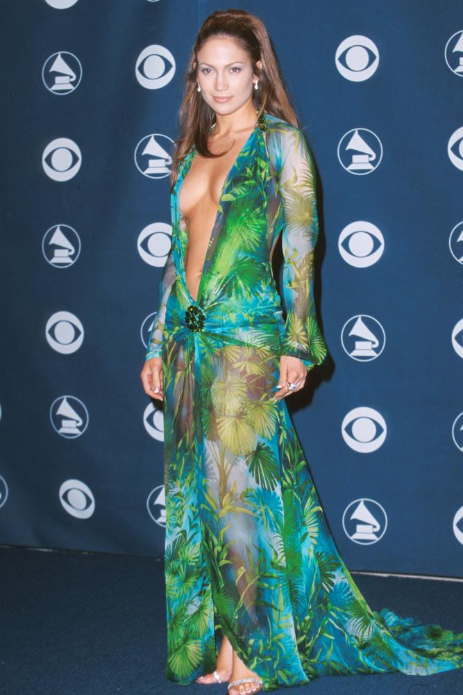 Jennifer Lopez at the 2000 Grammys in a dress designed by Versace.