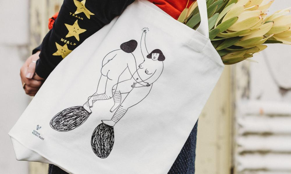 A tote bag created by the Melbourne artist Frances Cannon