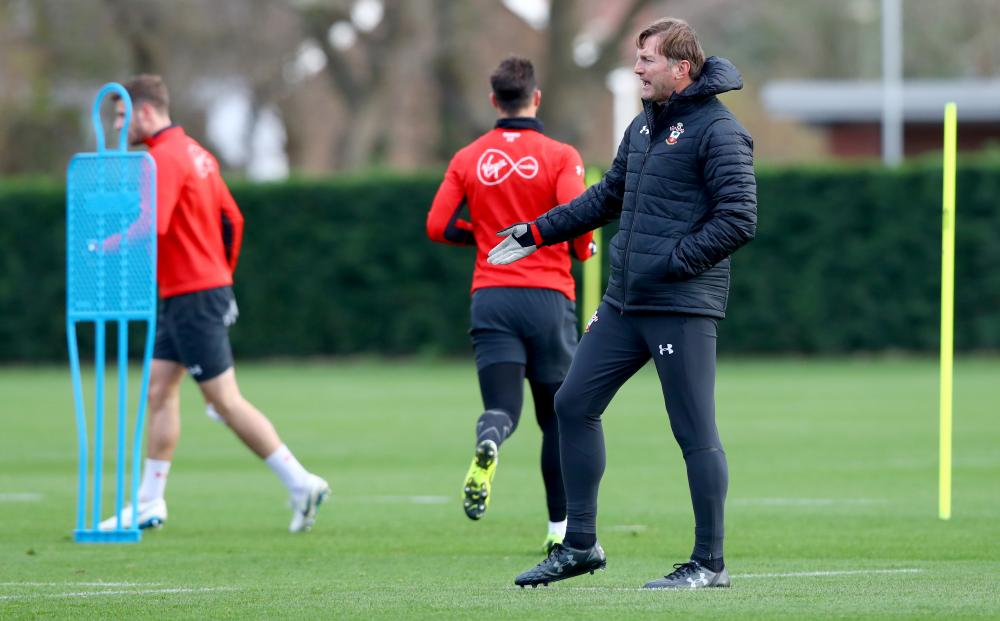 Ralph Hasenhüttl during a Southampton training session this week.