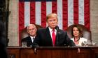 US President Donald J. Trump (C) delivers the State of the Union address with Vice President Mike Pence and Speaker of the House Nancy Pelosi at the Capitol in Washington, DC, USA, 05 February 2019.  EPA/Doug Mills / POOL