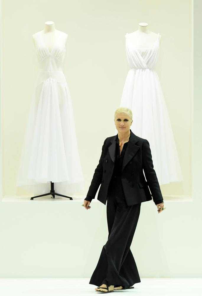Maria Grazia Chiuri on the catwalk.