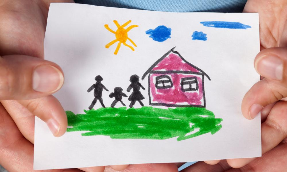 child's drawing of house and family