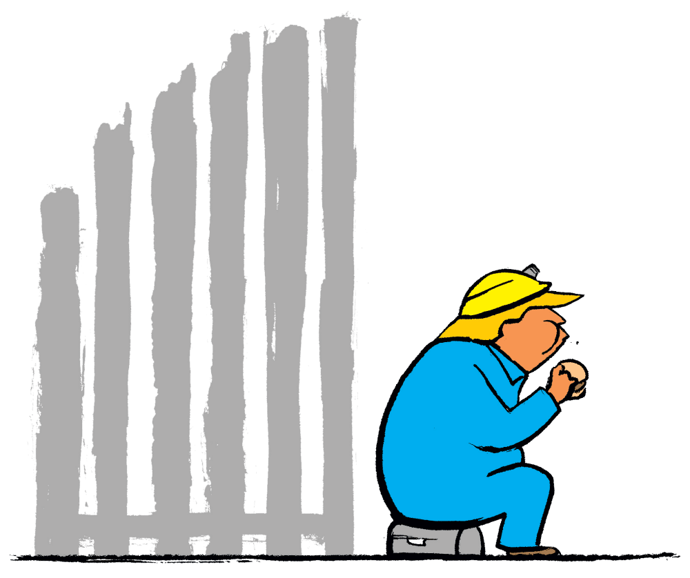 Graphic of Trump eating his lunch next to the border wall